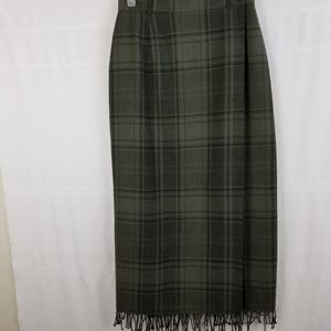 Ralph Lauren (RLL) green plaid true wrap skirt